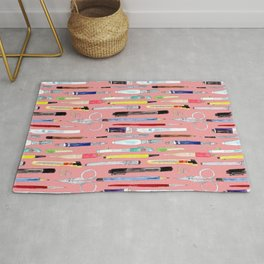 Watercolor Stationery Pastel Coral Background Rug