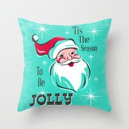 'Tis The Season - Retro Santa Aqua Colorful Throw Pillow