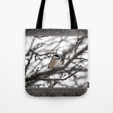 Winter Windblown Black-Capped Chickadee Tote Bag