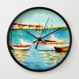 Sailboats at Sea Wall Clock