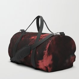 Abstract red material emerging design close up macro intricate pattern textured background Duffle Bag