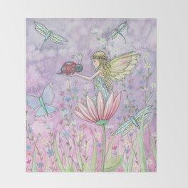 A Friendly Encounter Fairy and Ladybug Art by Molly Harrison Throw Blanket