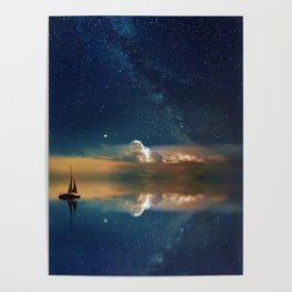 Sailboat in Space (Color) Poster