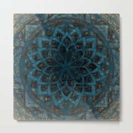 Mandala Blue Denim Metal Print