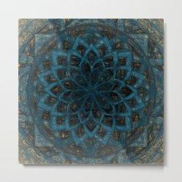 Mandala Blue Denim Metal Print