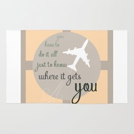 Travel quote- inspirational quote- wanderlust quote- airplane- plane- success Rug