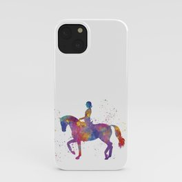 Woman rides a horse in watercolor.Hipica iPhone Case