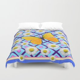 Yellow Butterfly on  Blue-pink Shasta Daisy Abstract Pattern Duvet Cover