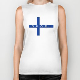 finland finnish country flag suomi name text Biker Tank