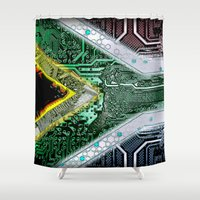 south africa Shower Curtains featuring circuit board South Africa (Flag) by seb mcnulty