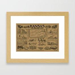 Vintage Illustrative Map of Kansas (1912) - Tan Framed Art Print
