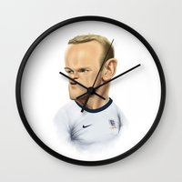 england Wall Clocks featuring Rooney - England by Sant Toscanni