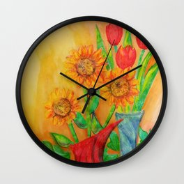 Little Sunflowers and Tulips Wall Clock