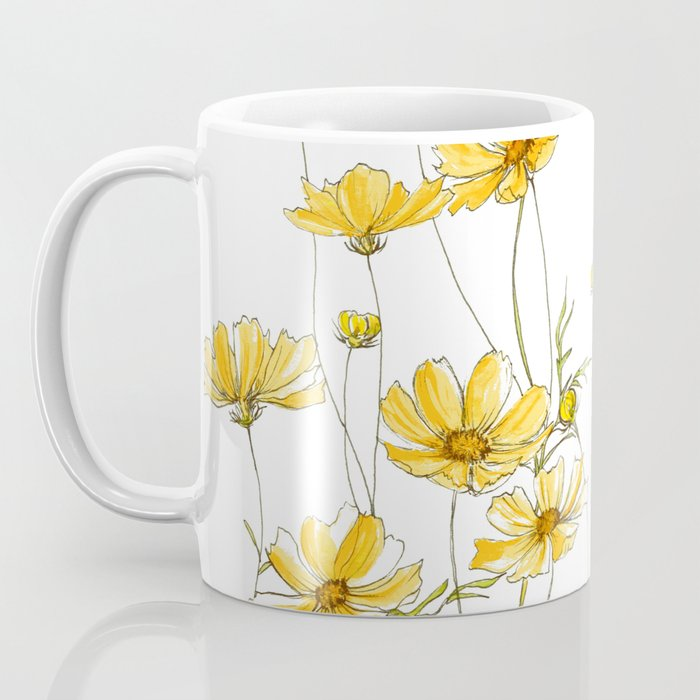 Yellow Cosmos Flowers Coffee Mug