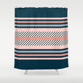 Colorful navy stripes Shower Curtain