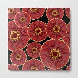 Asian-Inspired Floral Pattern Metal Print