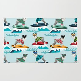 schnauzer surfing dog breed pattern Rug