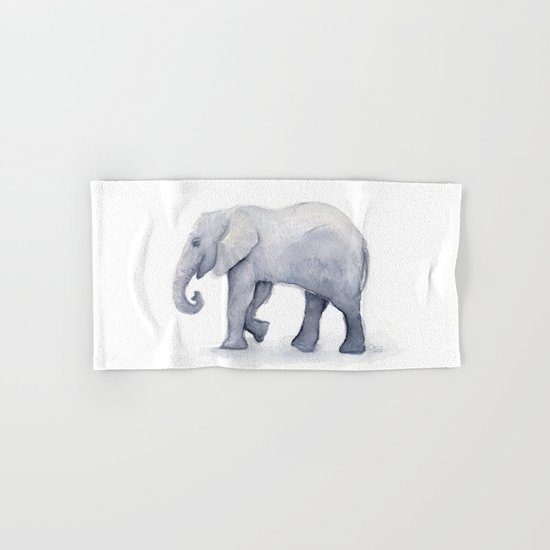 Elephant Watercolor Hand & Bath Towel