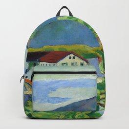 """August Macke """"Frühlingslandschaft in Tegernsee (Spring landscape in Tegernsee)"""" Backpack"""