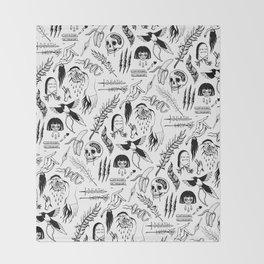 Death Lily Tattoo Flash Print Throw Blanket