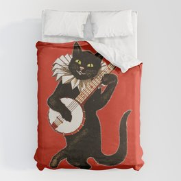 Black Cat for Halloween with Red Duvet Cover