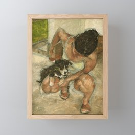 Girl Playing with Puppy Dog Impressionist Oil Painting Framed Mini Art Print