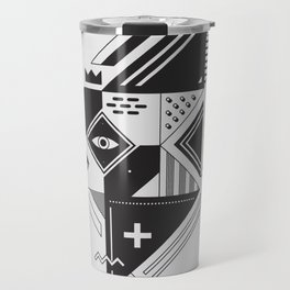 Vintage Abstract Art Monochromatic Black and White Geometric Shape Pattern with an Eye Travel Mug