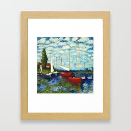 """Artistic Impression of Claude Monet's """"Red Boats at Argenteuil"""" Framed Art Print"""