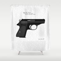 bond Shower Curtains featuring Bond PPK by AngoldArts