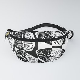 Black and White tropical abstract leaves Fanny Pack