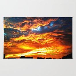 Fantastic Sunset, blue and orange sky Rug