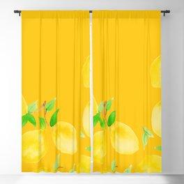 Lemons on Mustard Yellow Blackout Curtain