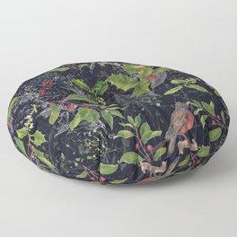 Christmas Botanical with Dark Background Floor Pillow
