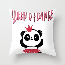Queen Of Dance Ballerina Dancer Panda Bear Gifts Throw Pillow