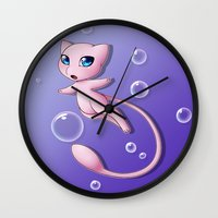 mew Wall Clocks featuring Mew Bubbles by AngelAito