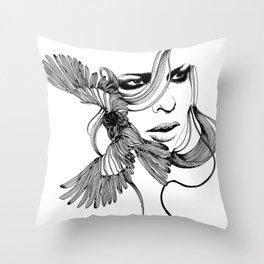 Bird Hair Throw Pillow