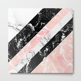 Modern black white pastel pink marble color block stripes Metal Print