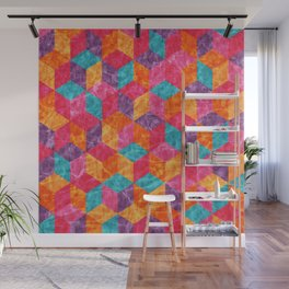 Colorful Isometric Cubes II Wall Mural