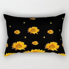 GOLDEN STARS YELLOW SUNFLOWERS  BLACK COLOR Rectangular Pillow