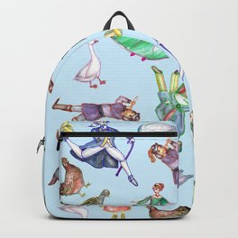 The Twelve Days of Christmas Pattern in Blue Backpack
