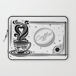Coffee Love, Coffee Cup, Coffee Doodle Art, Coffee Illustration, Black and White Coffee Design Laptop Sleeve