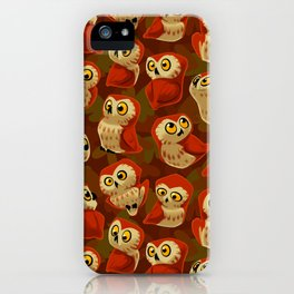 Northern Saw-whet owls pattern. iPhone Case