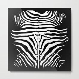 Black And White Zebra Design Metal Print
