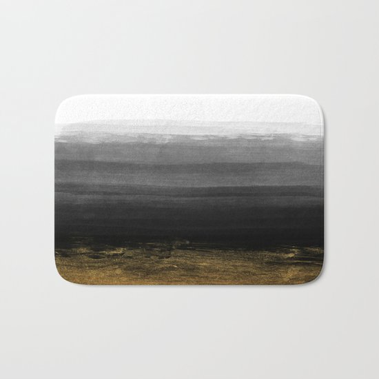 Black and Gold grunge stripes on clear white backround I - Stripe- Striped Bath Mat