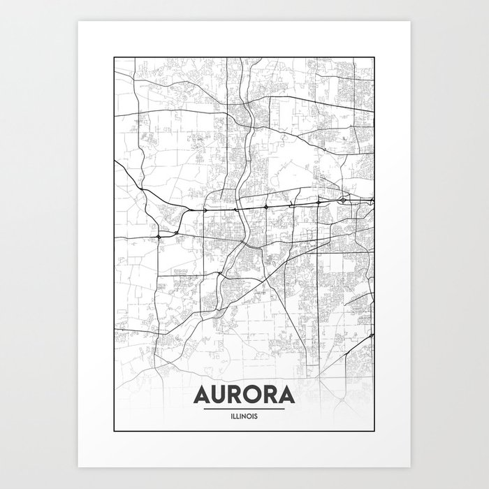 Minimal City Maps Map Of Aurora Illinois United States Art Print