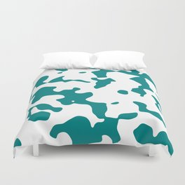 Large Spots - White and Dark Cyan Duvet Cover