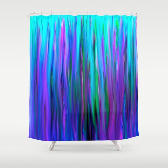 Purple And Blue Water Abstract Oil Painting Shower Curtain By Saundra Myles
