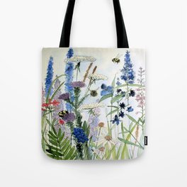 Wildflower in Garden Watercolor Flower Illustration Painting Tote Bag
