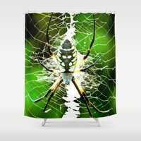 returns Shower Curtains featuring Spidey Returns by TexasArt
