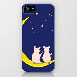 happy pair of pigs in love on the moon iPhone Case